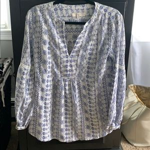 New without tags blue and white long sleeve blouse